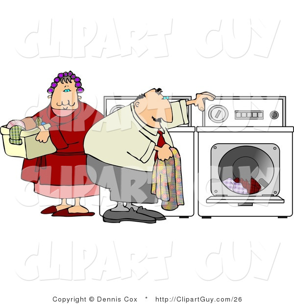 Clip Art of an Overweight Man and Woman Washing Their Laundry Together on Laundry Day