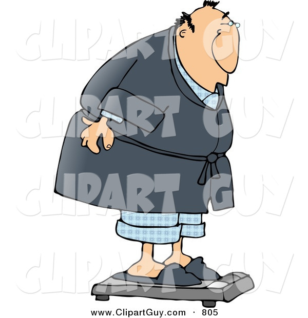 Clip Art of an Overweight Man Weighing Himself on a Standard Bathroom Scale