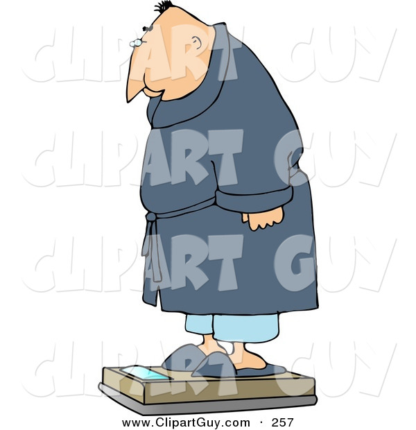 Clip Art of an Overweight White Man Measuring His Weight on a Standard Bathroom Scale