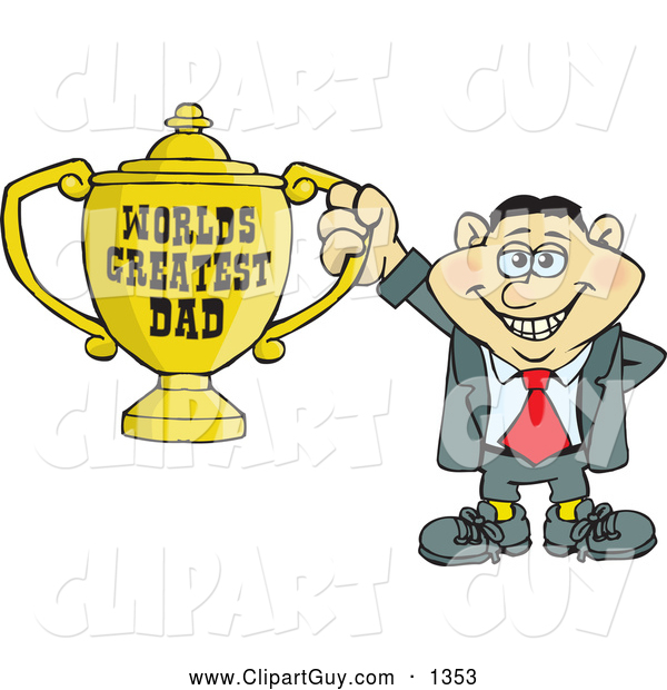Clip Art of AnItalian Man Holding a Golden Worlds Greatest Dad Trophy