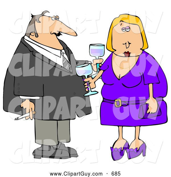 Clip Art of AOlder Couple Partying at a Cocktail Party