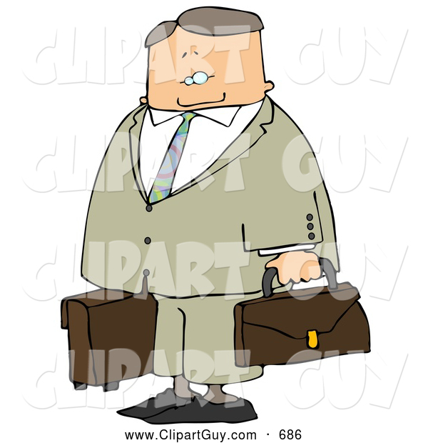 Clip Art of APacked up Older Businessman Ready to Travel to New York