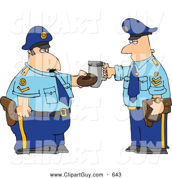 Clip Art of APair of Policemen Toasting Donut and Coffee Cup Together