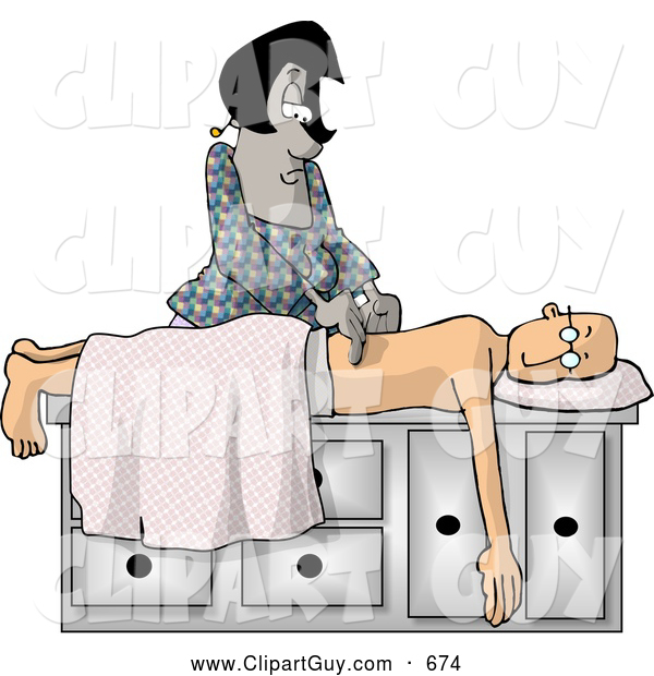 Clip Art of AProfessional African American Massage Therapist Massaging Caucasian Man