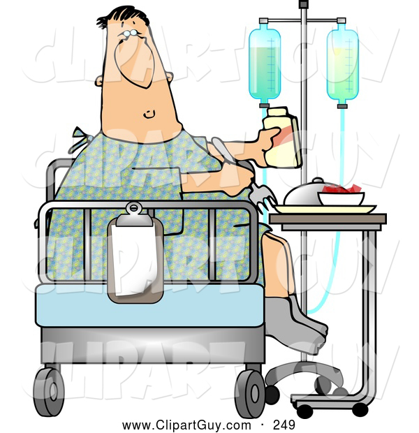 Clip Art of ARecovering Sick White Patient Eating Lunch on the Bed of His Hospital Room