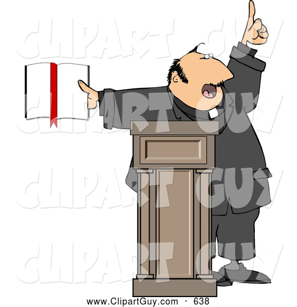 Clip Art of AReligious Man Preaching from the Bible, on White
