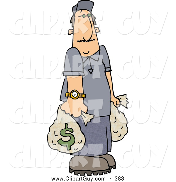 Clip Art of ARich Man Carrying Money Bags