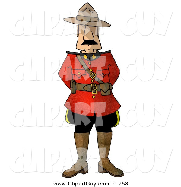 Clip Art of ARoyal Canadian Mounted Police (RCMP) Officer, on White
