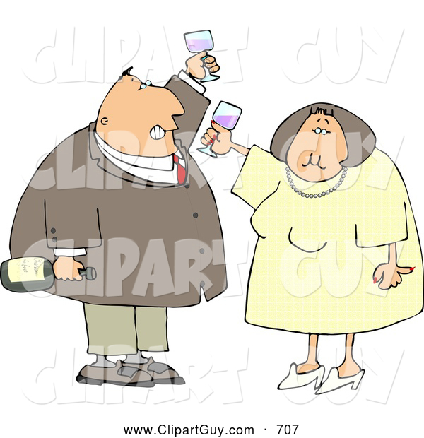 Clip Art of ASmiling Man and Woman at a Party Drinking Wine While Celebrating New Years Holiday