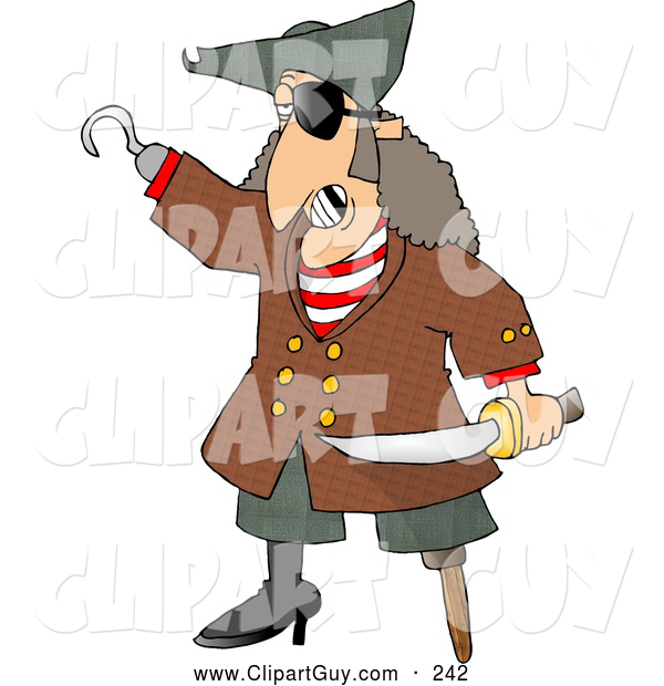 Clip Art of ASpooky Pirate with Missing Teeth, Hook Hand, Holding a Knife, and a Wooden Leg
