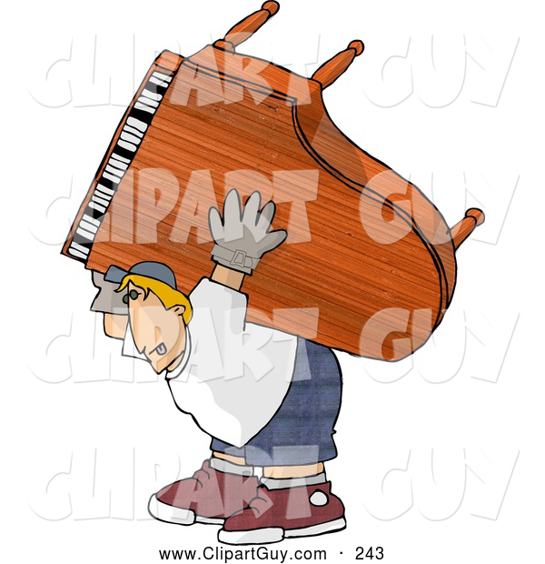 Clip Art of AStraining Strong Man Moving a Heavy Grand Piano