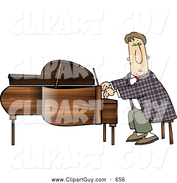 Clip Art of ATalented Professional Pianist Playing Grand Piano