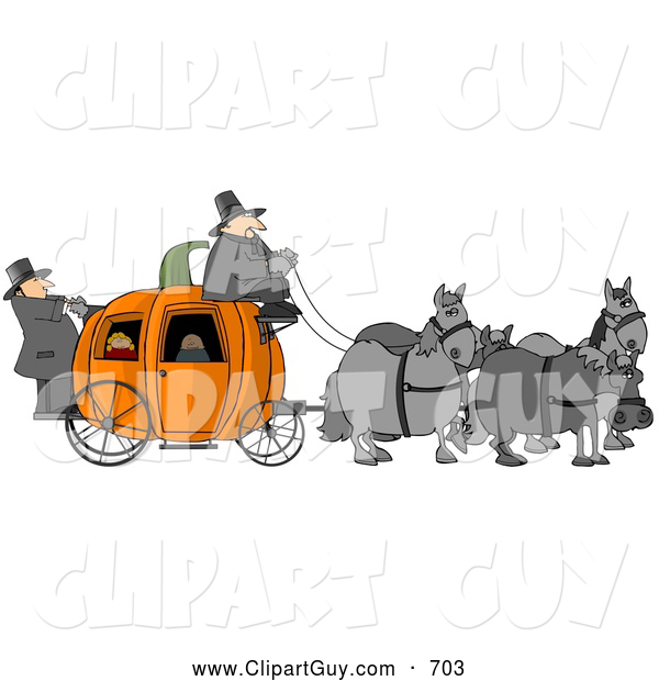Clip Art of ATeam of Horses Pulling People on a Pumpkin Carriage