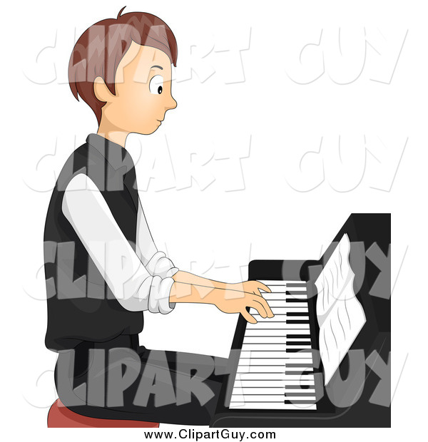Clip Art of ATeen Boy Sitting and Playing a Piano