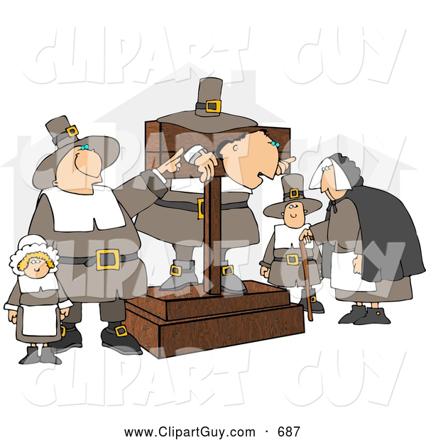 Clip Art of AThe Pilgrim Pillory and Observers