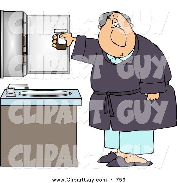 Clip Art of ATired Elderly Bedtime Man with a Headache Holding a Bottle of Pain Pills
