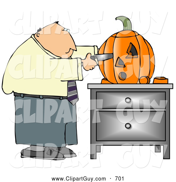 Clip Art of AWhite Businessman Carving a Halloween Pumpkin with a Knife