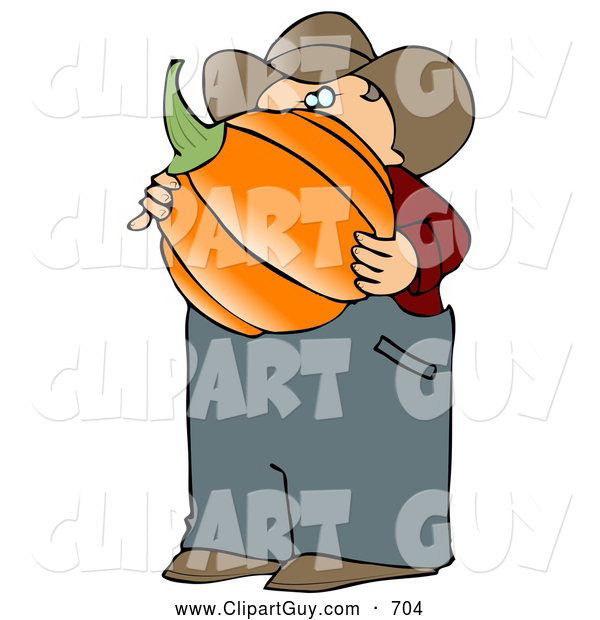 Clip Art of AWhite Caucasian Male Farmer Carrying a Freshly Harvested Halloween Pumpkin from His Garden