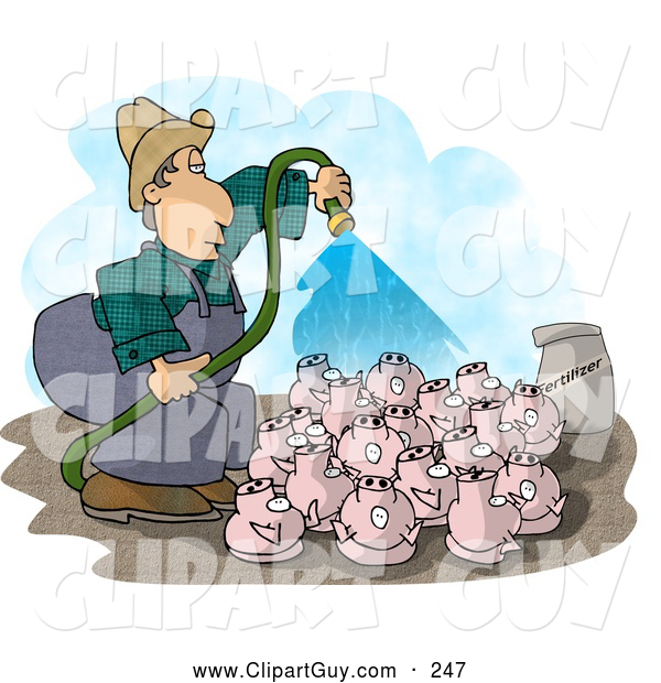 Clip Art of AWhite Farmer Watering His Pigs with Fertilizer - Livestock Concept