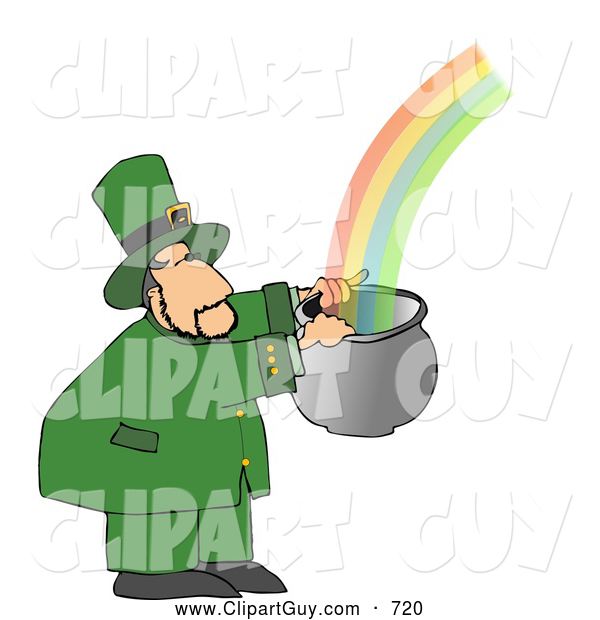 Clip Art of AWhite Leprechaun Catching a Rainbow in a Pot