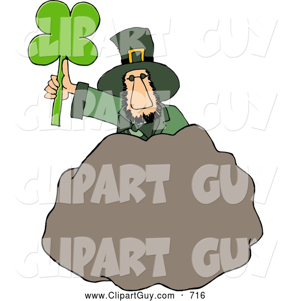 Clip Art of AWhite Leprechaun Standing Behind a Bolder with a Four Leaf Clover Leaf