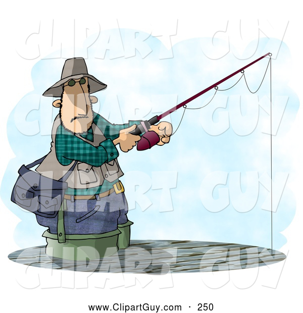 Clip Art of AWhite Man Fishing in a Lake with a Standard Rod and Reel Fishing Pole