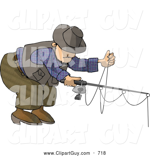 Clip Art of AWhite Man Fishing with a Standard Rod