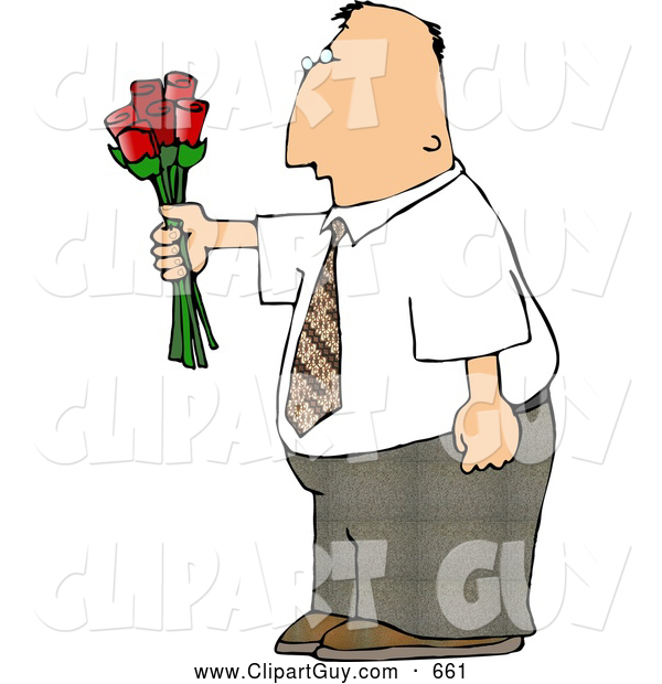 Clip Art of AWhite Man Giving Flowers
