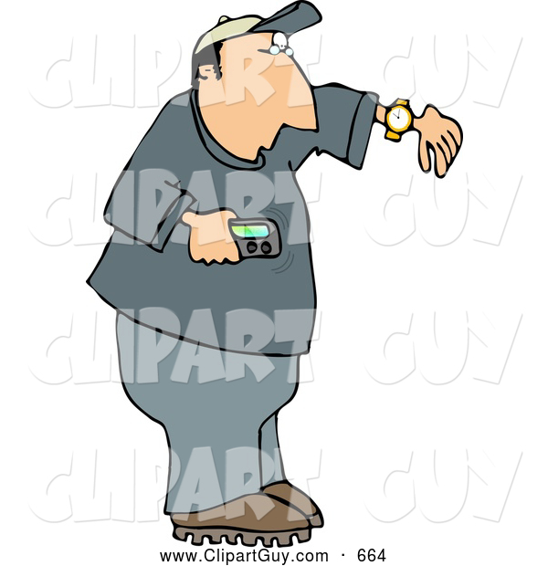 Clip Art of AWhite Man Holding a Vibrating Pager and Checking the Time on His Wrist Watch