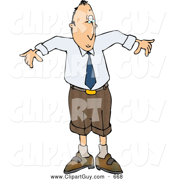 Clip Art of AWhite Man Wearing a Small Business Suit - Business Humor