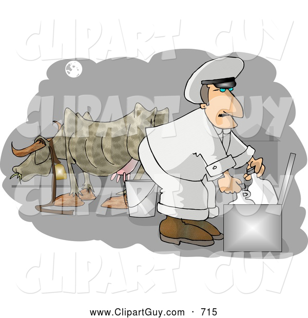 Clip Art of AWhite Milkman Gathering Fresh Milk from a Cow on a Farm