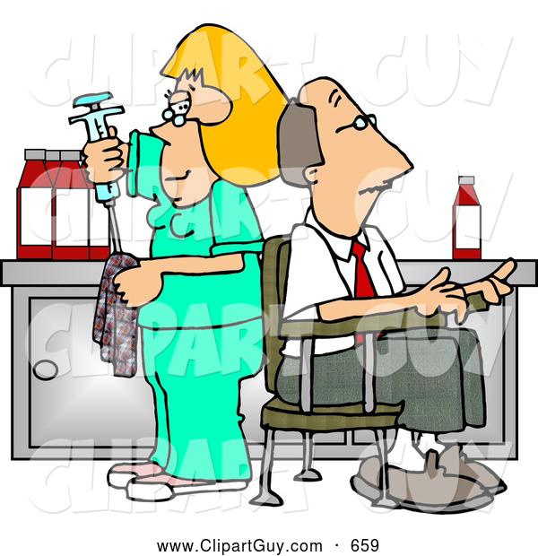 Clip Art of AWhite Nurse Cleaning Needle After Drawing Blood Samples from Male Patient - Medical Humor