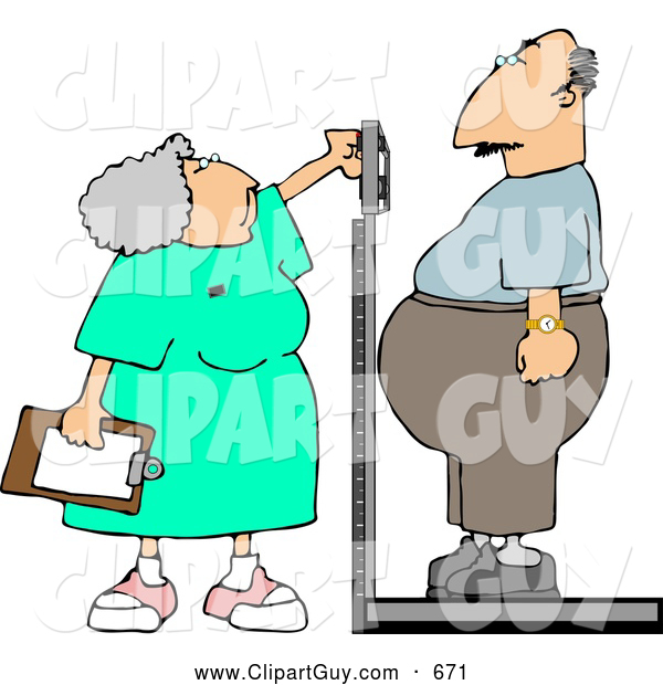 Clip Art of AWhite Nurse Weighing Overweight Man on a Scale