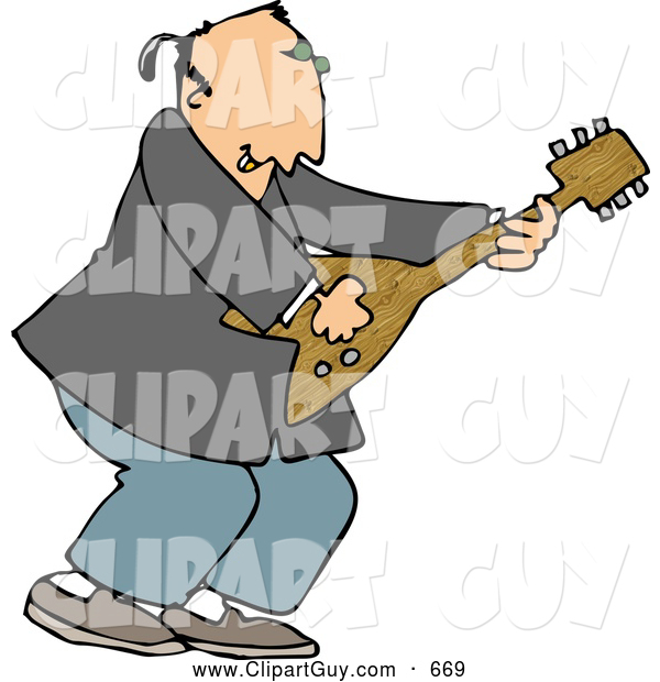 Clip Art of AWhite Old Rocker Playing a Guitar