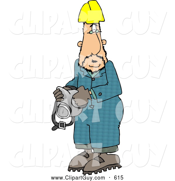Clip Art of AWorker Man Wearing a Yellow Hardhat and Holding a Respirator