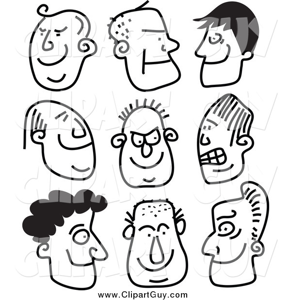Clip Art of Black and White Guy Stick People Faces