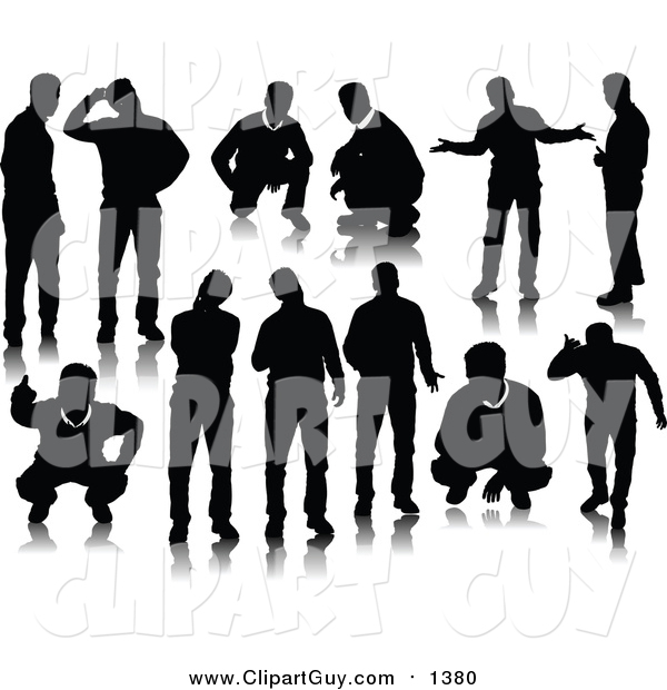 Clip Art of Black Men Silhouettes
