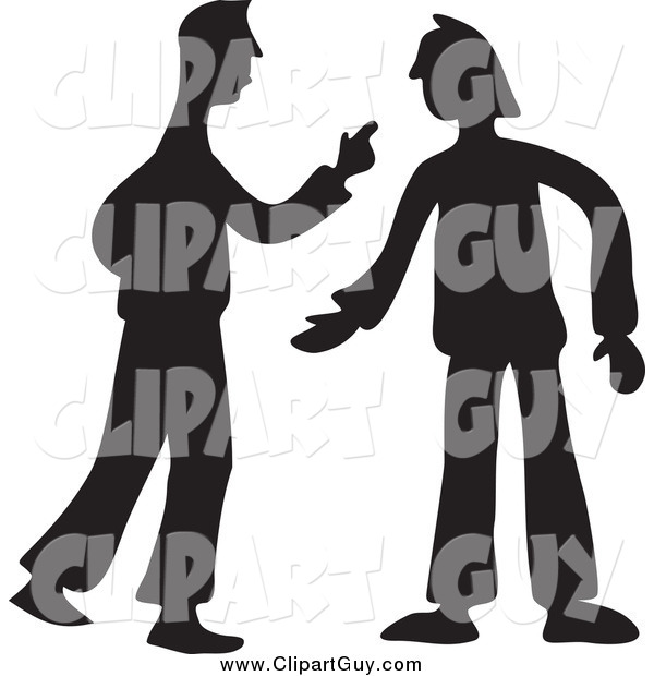 Clip Art of Black Silhouetted Two Men Arguing