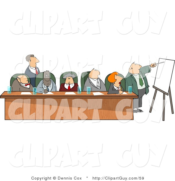 Clip Art of Businessmen and Businesswomen Sitting at a Long Table During a Business Meeting