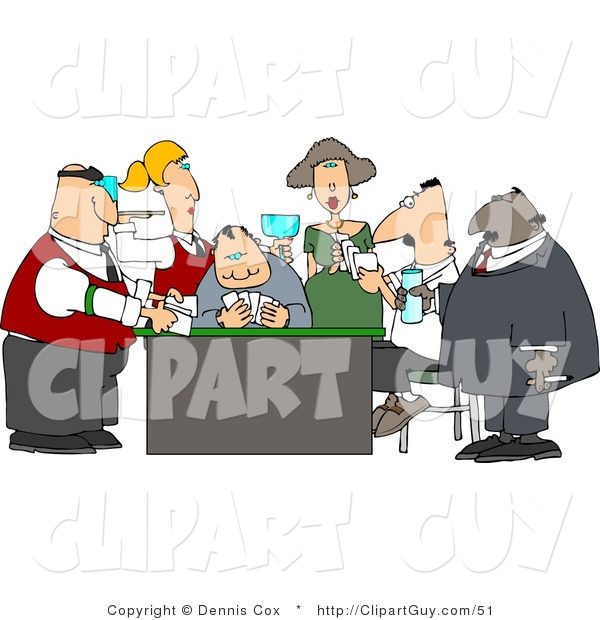 Clip Art of Casino Gamblers Playing Poker Game Around a Table