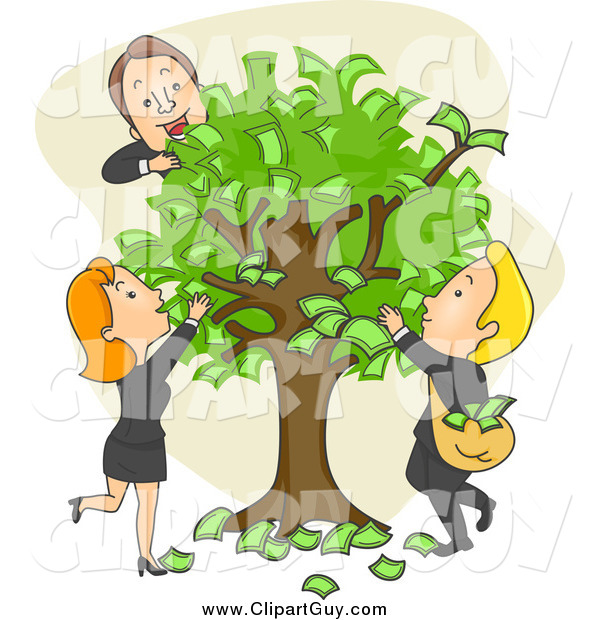 Clip Art of Caucasian Business People and a Money Tree
