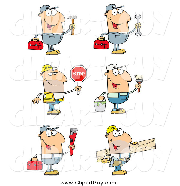 Clip Art of Caucasian Construction and Repair Men