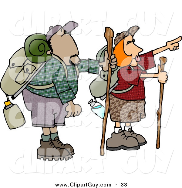 Clip Art of Caucasian Male and Female Hikers Hiking with Backpacks, Canteens, Sleeping Bags, and Walking Sticks