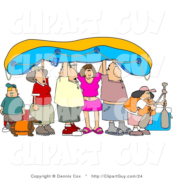 Clip Art of Friends and Family Going River Rafting, Holding the Raft up