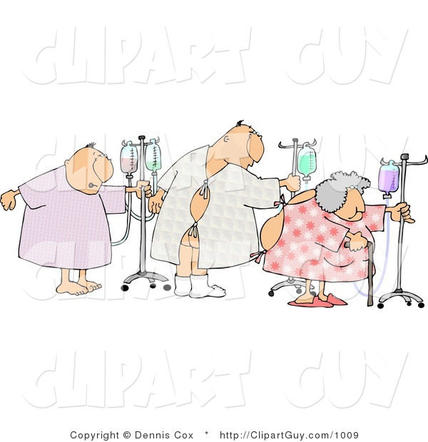 Clip Art of Ill Male and Female Hospital Patients Hooked up to IVs and Walking Around in a Hospital