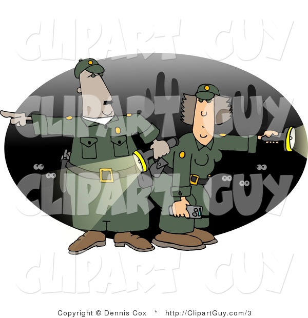 Clip Art of Male and Female Mexican Border Patrol Police Officers with Flaslights Looking for Illegal Immigrants Crossing the US Border at Night