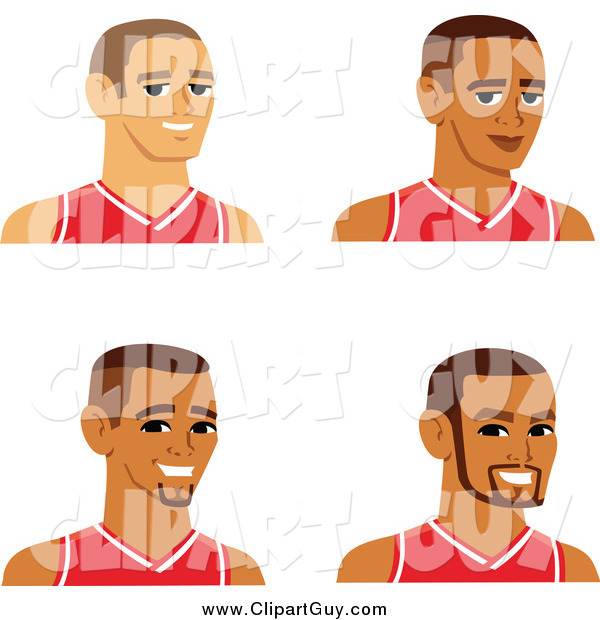 Clip Art of Male Avatars Wearing Basketball Jerseys