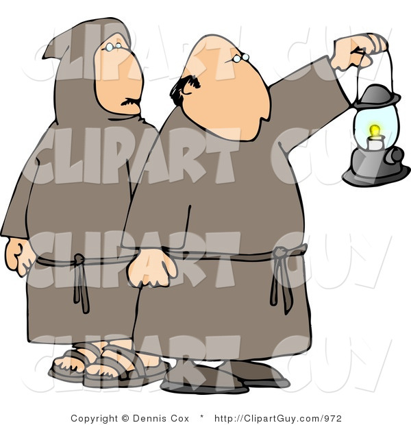 Clip Art of Monks Wearing Brown Robes and Holding a Lit Lantern at Night