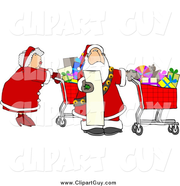 Clip Art of Santa and Mrs Claus Shopping for Christmas Presents