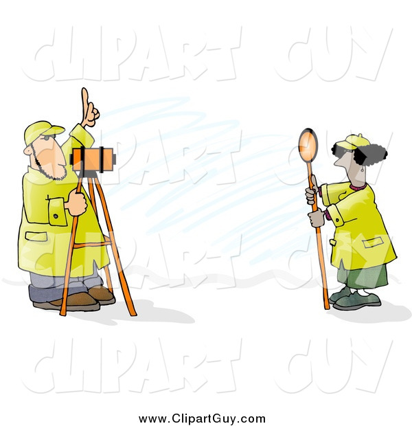 Clip Art of Surveyors at Work with Leveling Instruments